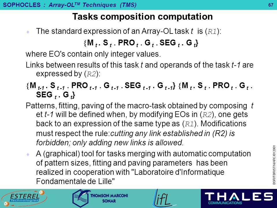 Tasks composition computation M t .S tPRO tG t SEG t .G t}