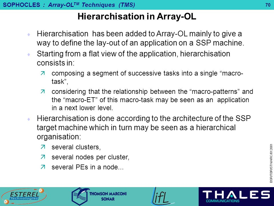 Hierarchisation in Array-OL