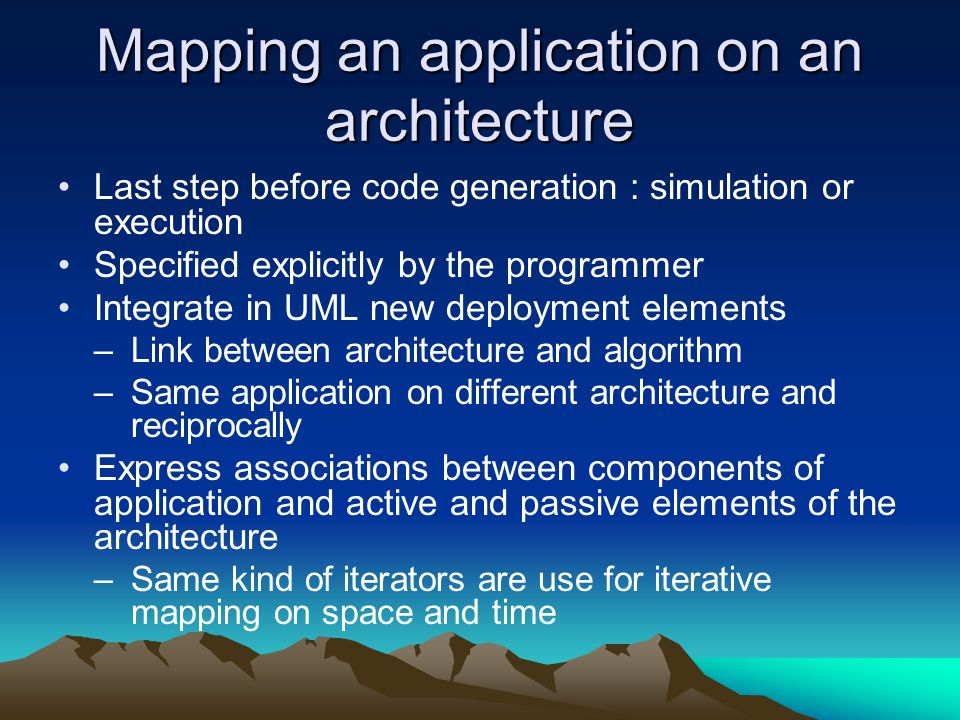 Mapping an application on an architecture