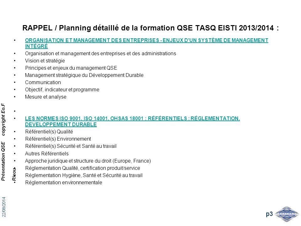 RAPPEL / Planning détaillé de la formation QSE TASQ EISTI 2013/2014 :