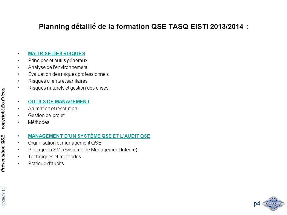 Planning détaillé de la formation QSE TASQ EISTI 2013/2014 :