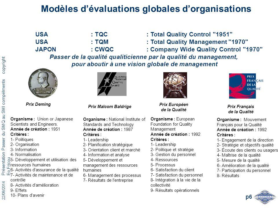 Modèles d'évaluations globales d'organisations