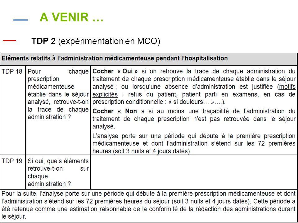 A VENIR … TDP 2 (expérimentation en MCO)