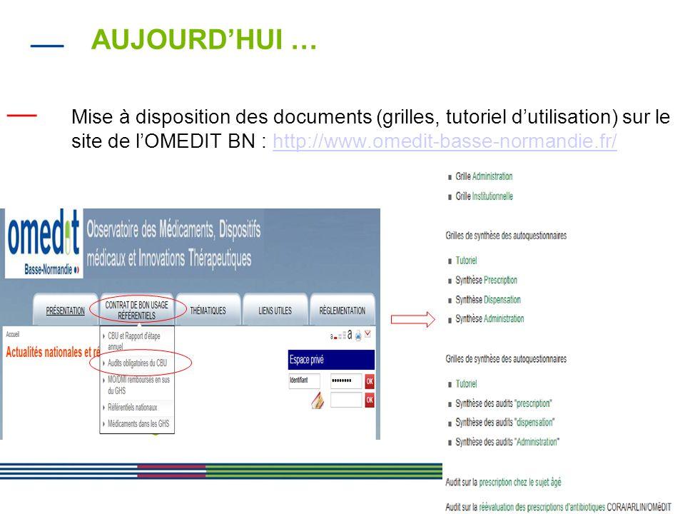 AUJOURD'HUI … Mise à disposition des documents (grilles, tutoriel d'utilisation) sur le site de l'OMEDIT BN : http://www.omedit-basse-normandie.fr/