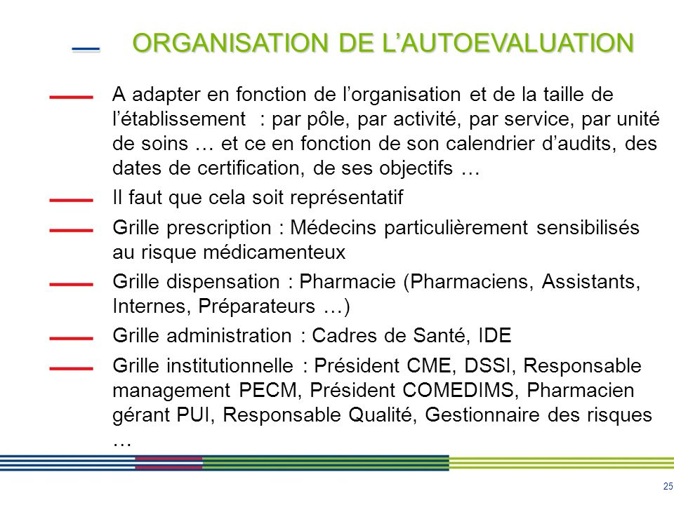 ORGANISATION DE L'AUTOEVALUATION