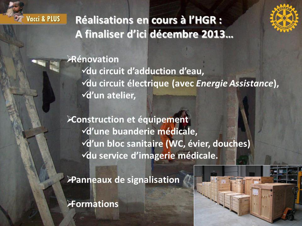 Réalisations en cours à l'HGR : A finaliser d'ici décembre 2013…