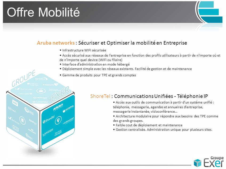 Offre Mobilité Aruba networks : Sécuriser et Optimiser la mobilité en Entreprise. • Infrastructure WiFi sécurisée.