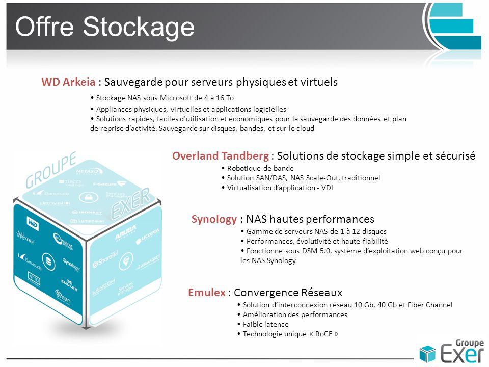 Offre Stockage WD Arkeia : Sauvegarde pour serveurs physiques et virtuels. • Stockage NAS sous Microsoft de 4 à 16 To.