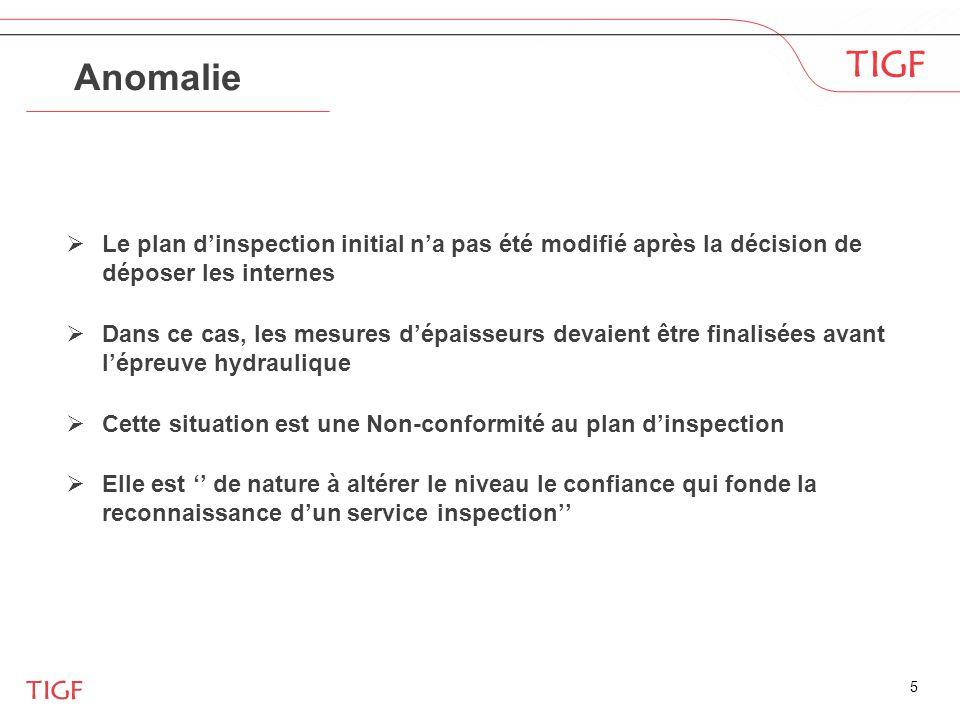 Anomalie Le plan d'inspection initial n'a pas été modifié après la décision de déposer les internes.