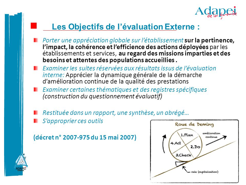 Les Objectifs de l'évaluation Externe :