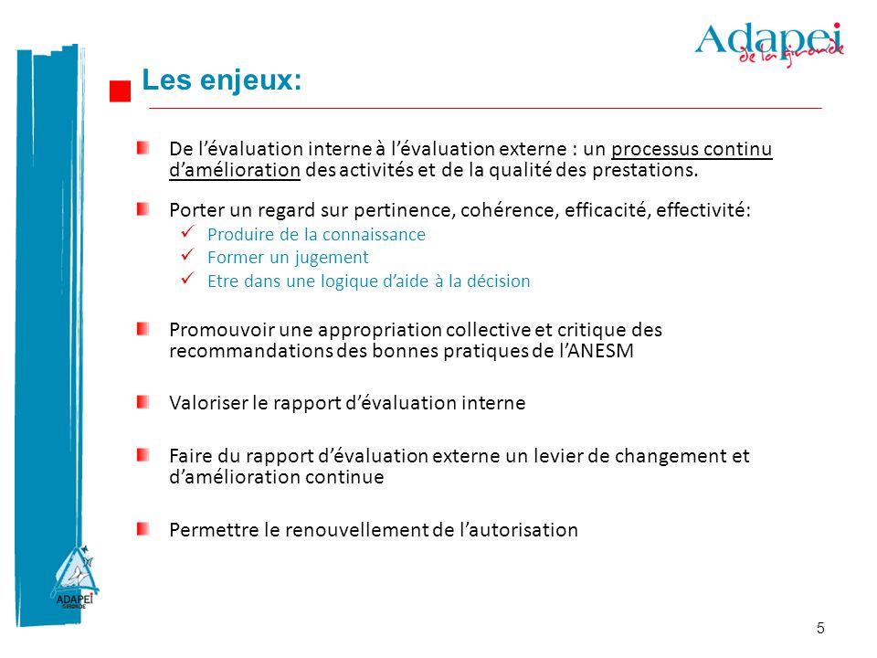 Les enjeux: De l'évaluation interne à l'évaluation externe : un processus continu d'amélioration des activités et de la qualité des prestations.