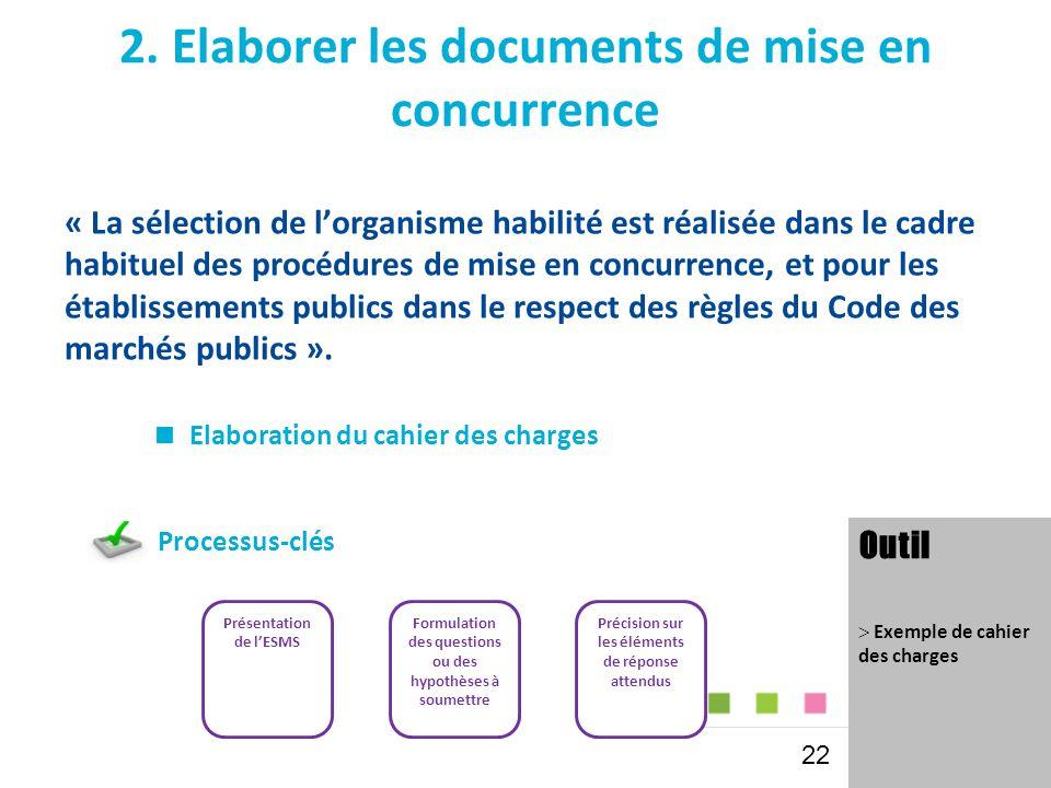 2. Elaborer les documents de mise en concurrence