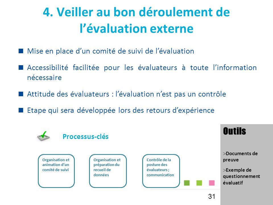 4. Veiller au bon déroulement de l'évaluation externe