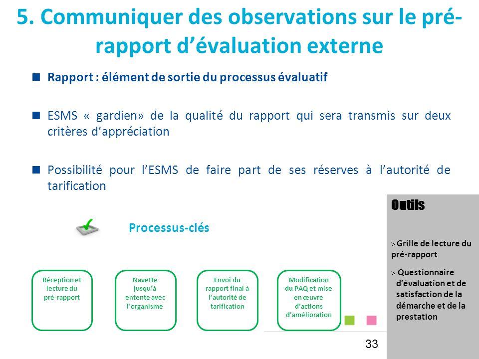 5. Communiquer des observations sur le pré-rapport d'évaluation externe