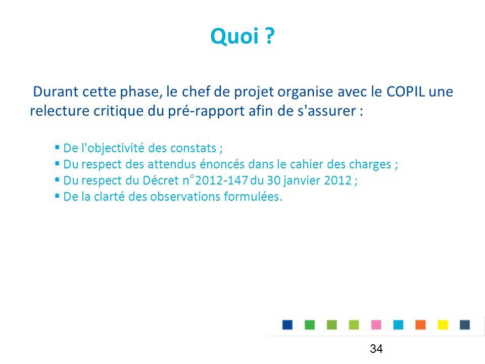 Quoi Durant cette phase, le chef de projet organise avec le COPIL une relecture critique du pré-rapport afin de s assurer :
