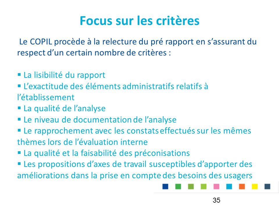 Focus sur les critères Le COPIL procède à la relecture du pré rapport en s'assurant du respect d'un certain nombre de critères :