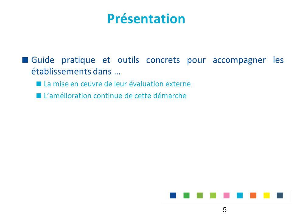 Présentation Guide pratique et outils concrets pour accompagner les établissements dans … La mise en œuvre de leur évaluation externe.