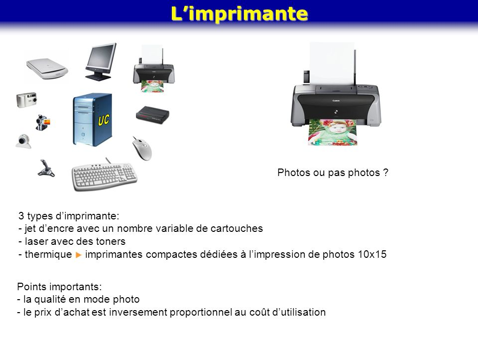 UC L'imprimante Photos ou pas photos 3 types d'imprimante: