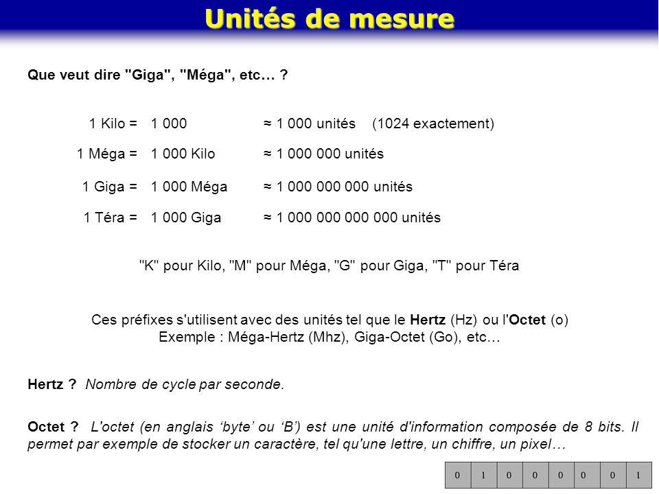 Unités de mesure Que veut dire Giga , Méga , etc… 1 Kilo = 1 000