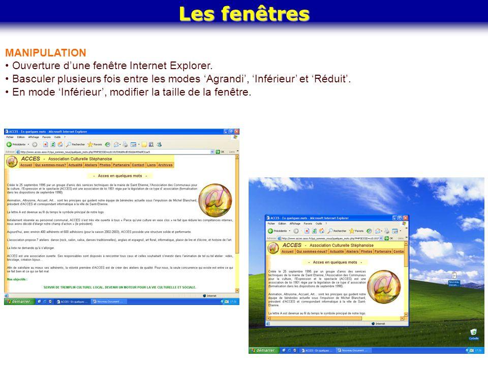 Les fenêtres MANIPULATION Ouverture d'une fenêtre Internet Explorer.