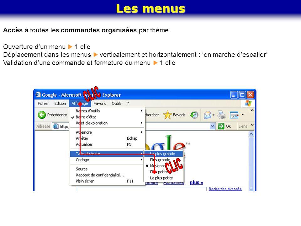 CLIC CLIC Les menus Accès à toutes les commandes organisées par thème.