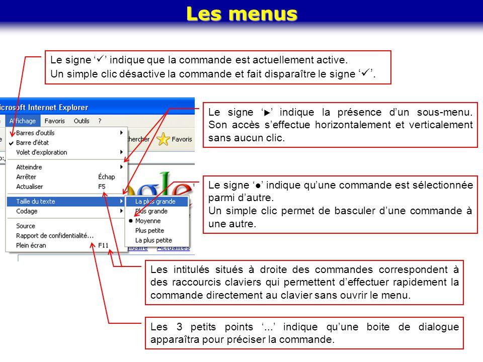 Les menus Le signe '' indique que la commande est actuellement active. Un simple clic désactive la commande et fait disparaître le signe ''.