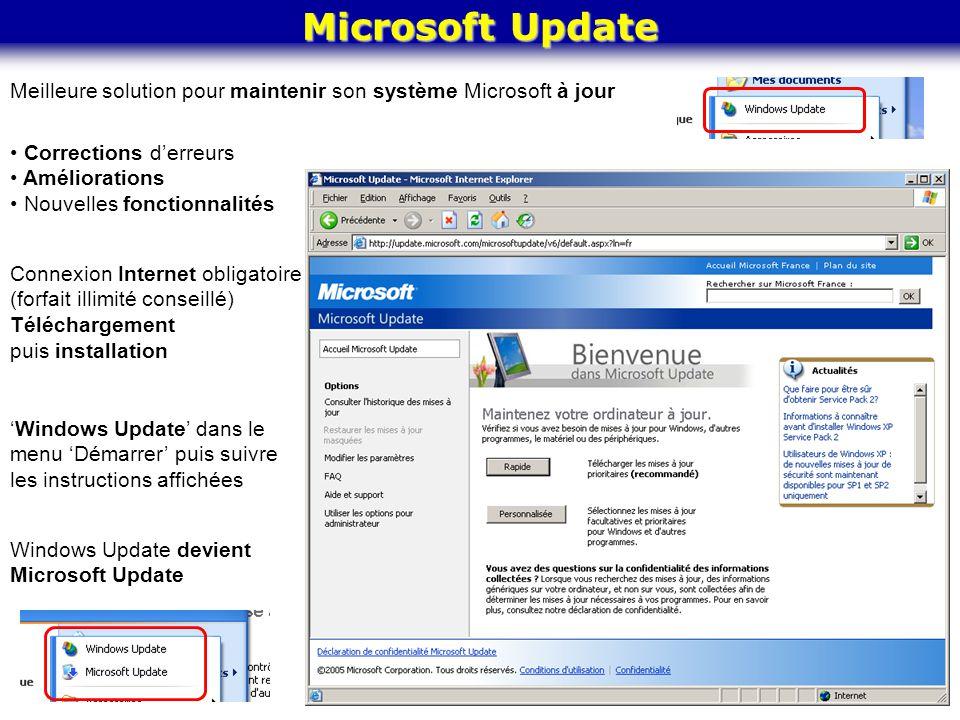 Microsoft Update Meilleure solution pour maintenir son système Microsoft à jour. Corrections d'erreurs.