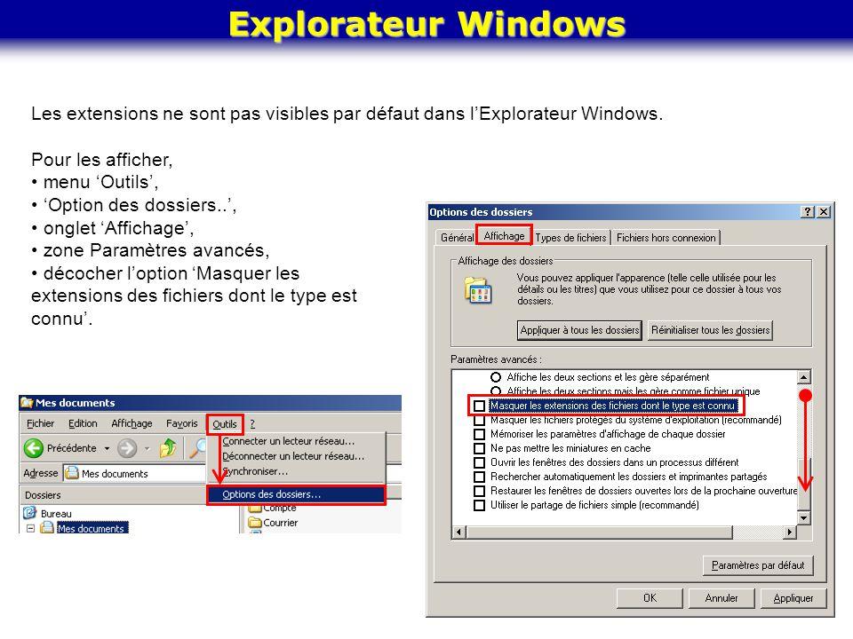 Explorateur Windows Les extensions ne sont pas visibles par défaut dans l'Explorateur Windows. Pour les afficher,