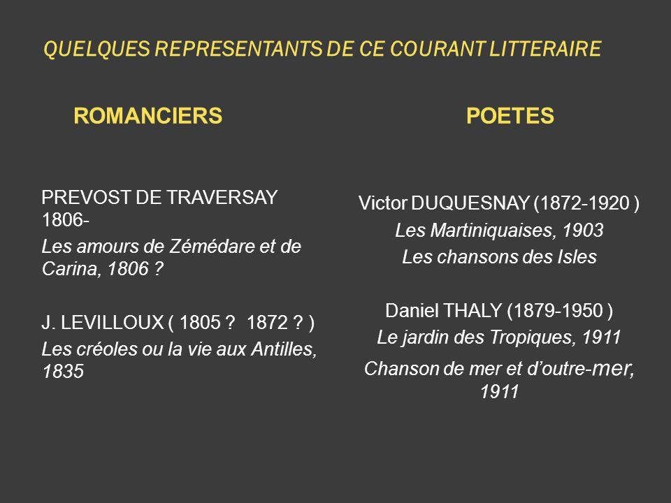 QUELQUES REPRESENTANTS DE CE COURANT LITTERAIRE