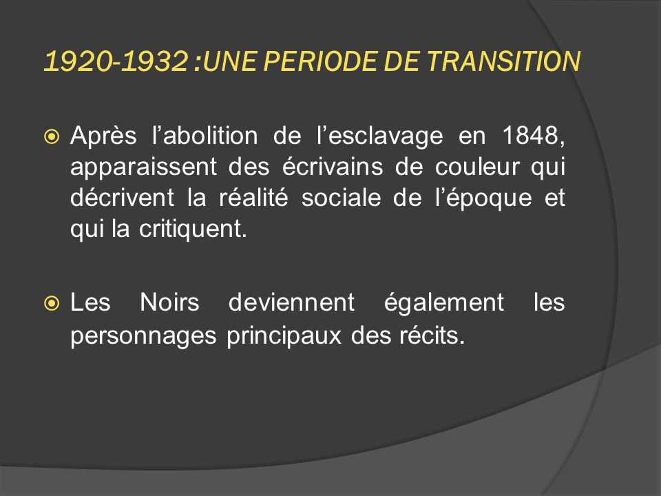1920-1932 :UNE PERIODE DE TRANSITION