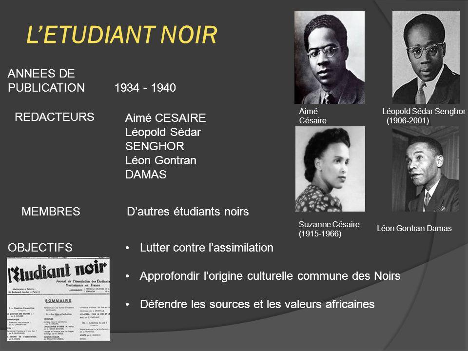 L'ETUDIANT NOIR ANNEES DE PUBLICATION 1934 - 1940 REDACTEURS