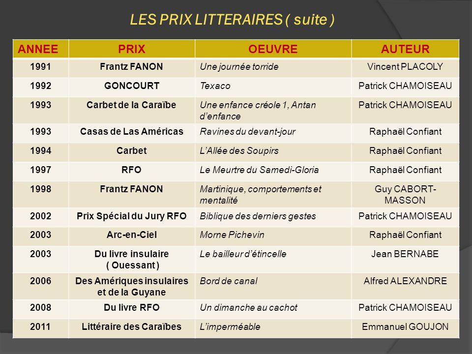 LES PRIX LITTERAIRES ( suite )