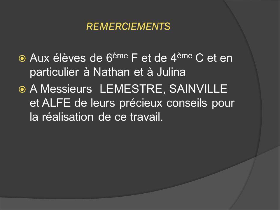 REMERCIEMENTS Aux élèves de 6ème F et de 4ème C et en particulier à Nathan et à Julina.