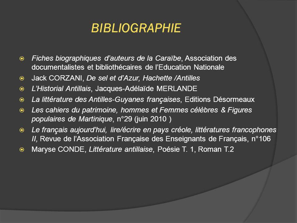 BIBLIOGRAPHIE Fiches biographiques d'auteurs de la Caraïbe, Association des documentalistes et bibliothécaires de l'Education Nationale.