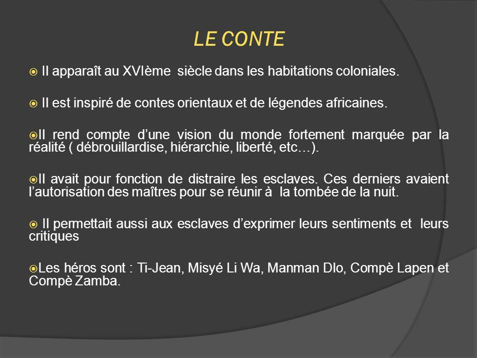 LE CONTE Il apparaît au XVIème siècle dans les habitations coloniales.