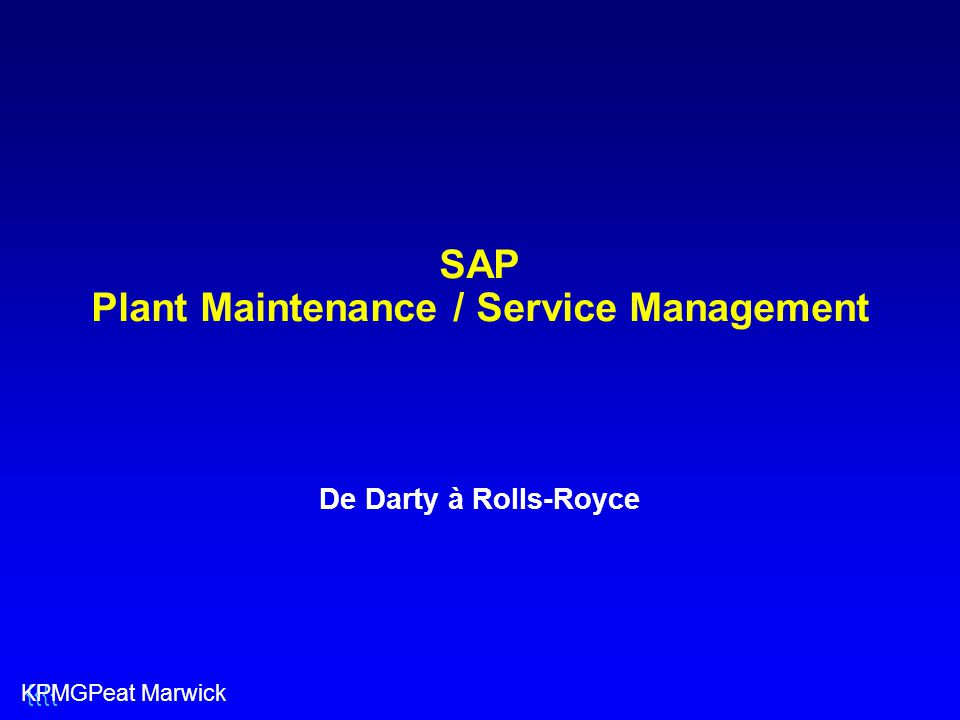 SAP Plant Maintenance / Service Management