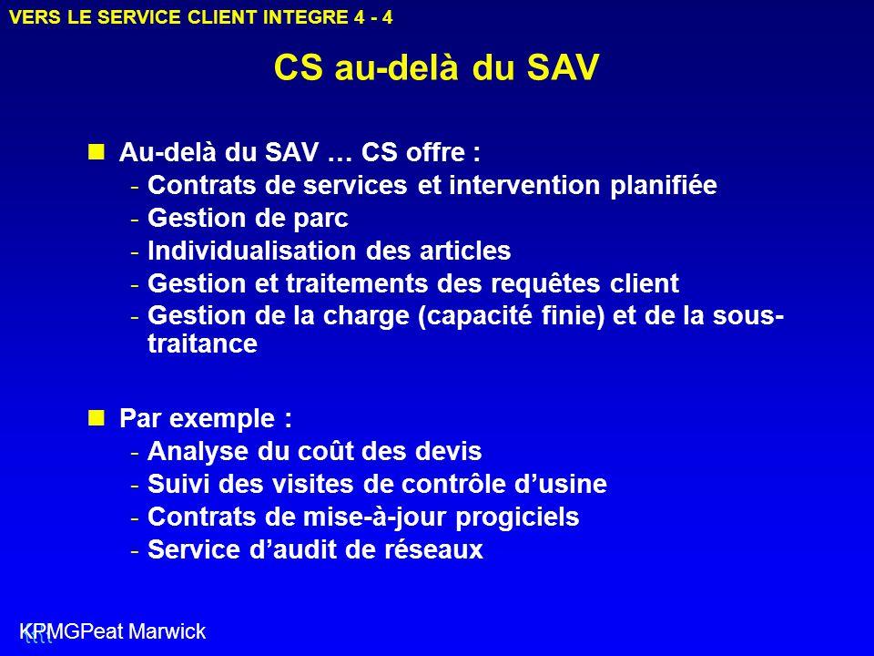 VERS LE SERVICE CLIENT INTEGRE 4 - 4