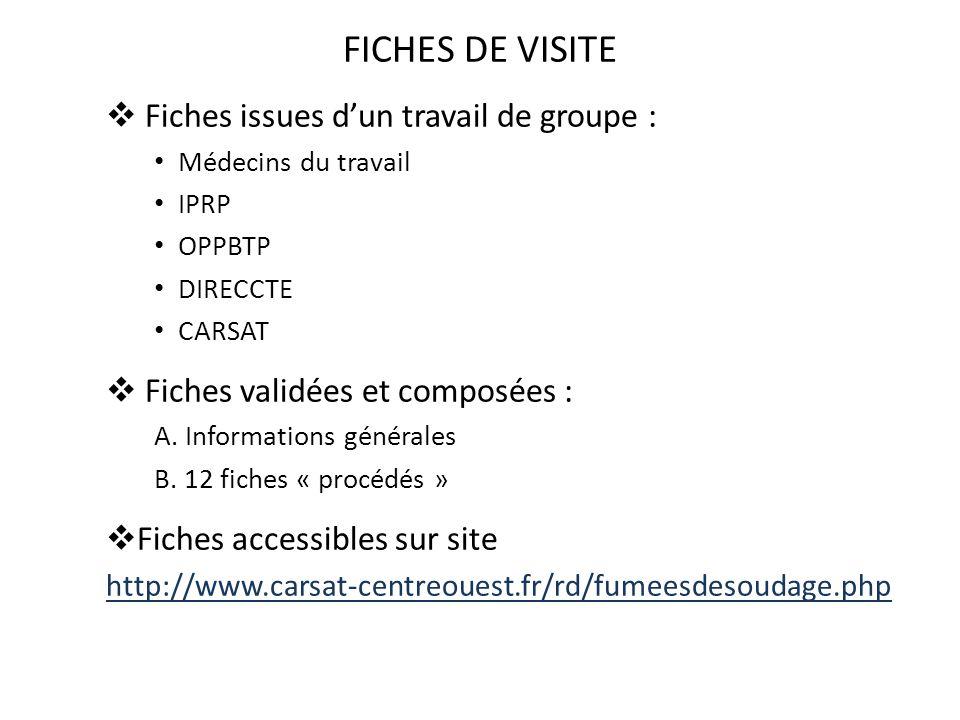 FICHES DE VISITE Fiches issues d'un travail de groupe :