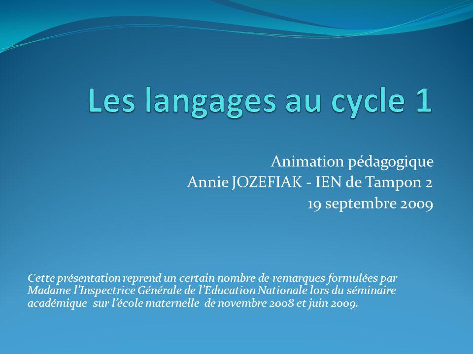 Les langages au cycle 1 Animation pédagogique