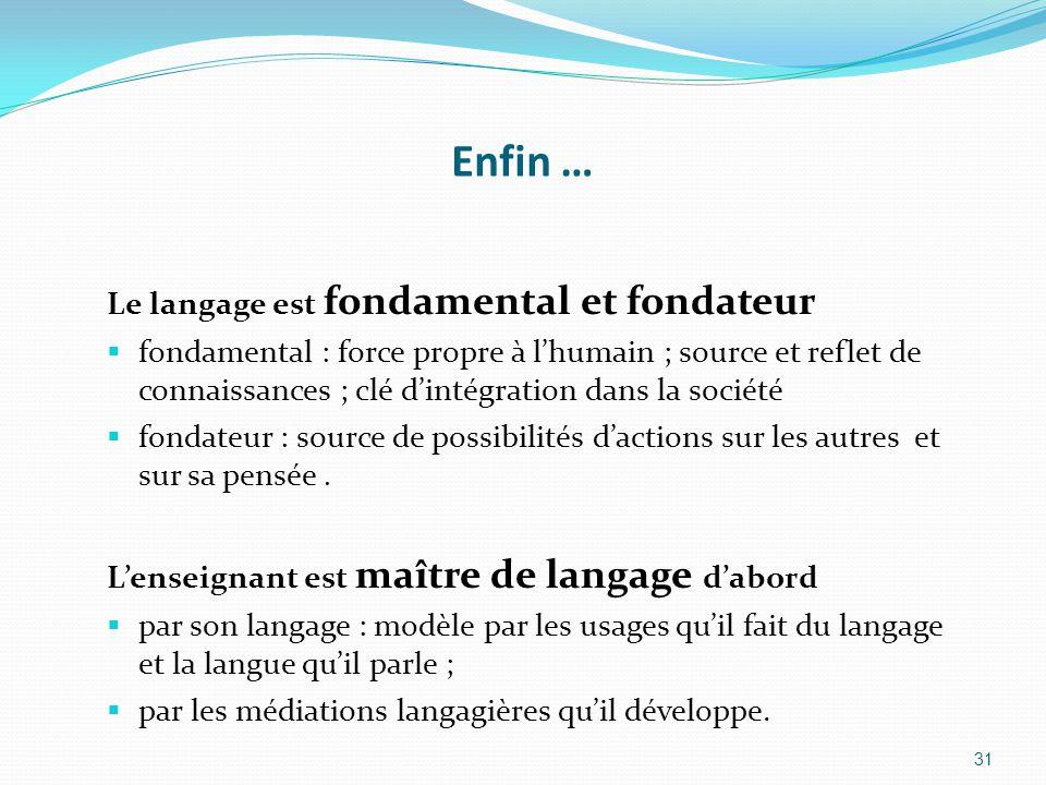 Enfin … Le langage est fondamental et fondateur