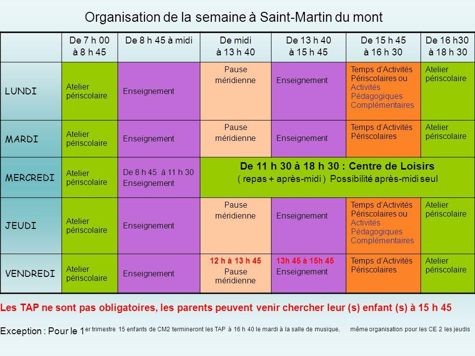 Organisation de la semaine à Saint-Martin du mont