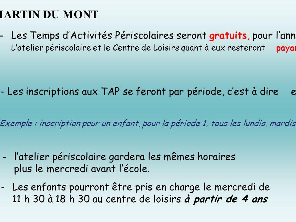 À ST MARTIN DU MONT Les Temps d'Activités Périscolaires seront gratuits, pour l'année 2014/ 2015 ( sauf séance cinéma ).