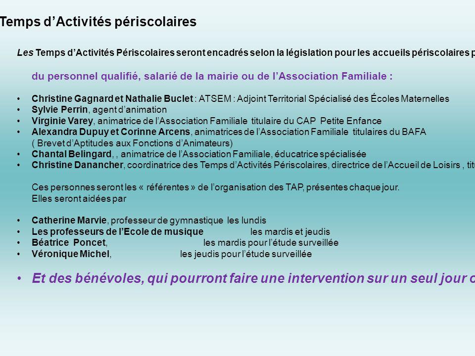 Organisation des Temps d'Activités périscolaires