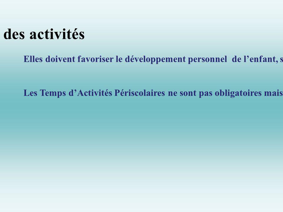 Les objectifs des activités