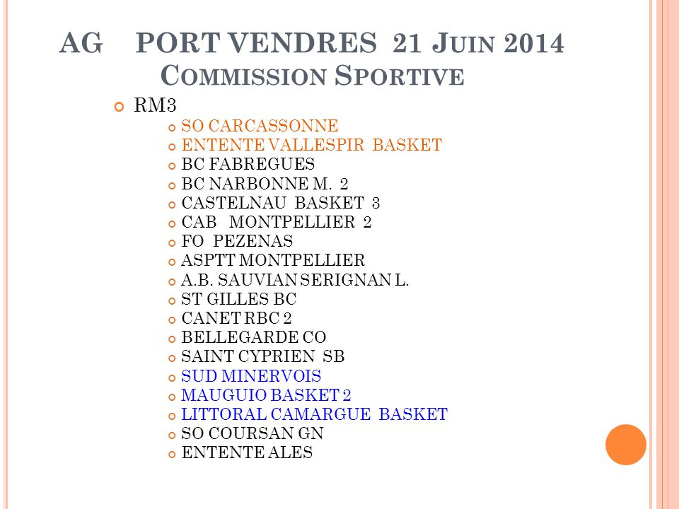AG PORT VENDRES 21 Juin 2014 Commission Sportive