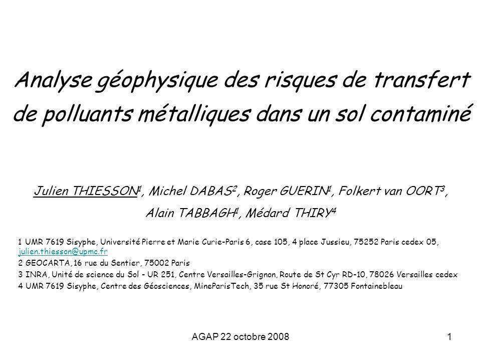 Analyse géophysique des risques de transfert de polluants métalliques dans un sol contaminé