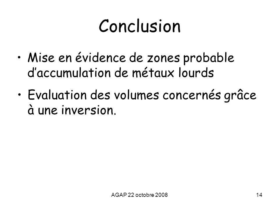 Conclusion Mise en évidence de zones probable d'accumulation de métaux lourds. Evaluation des volumes concernés grâce à une inversion.