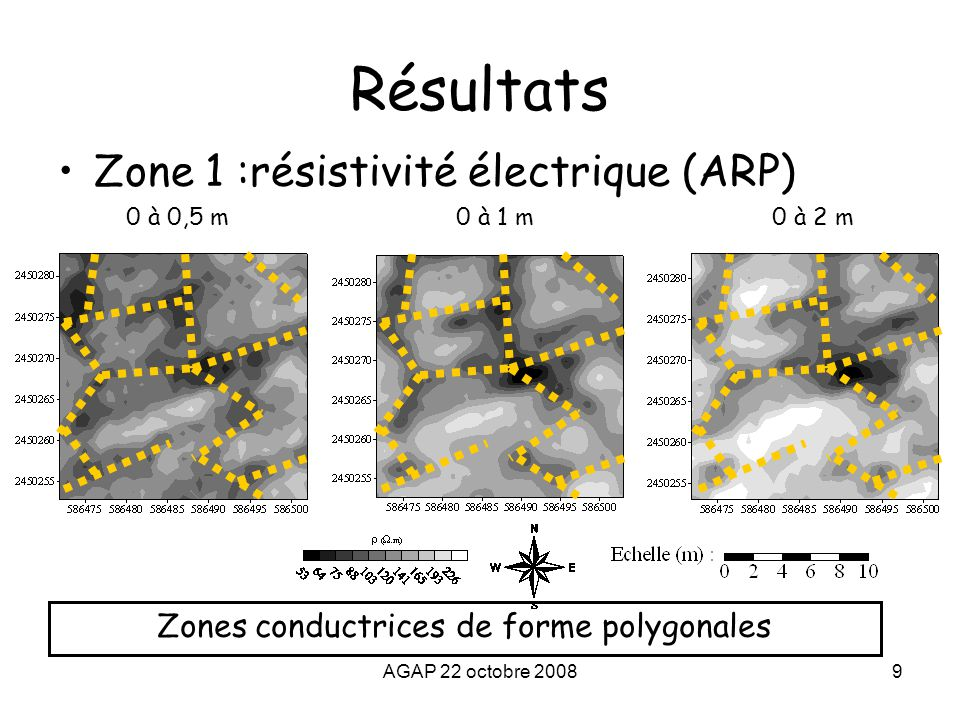 Zones conductrices de forme polygonales