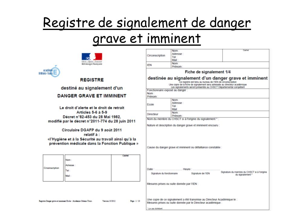 Registre de signalement de danger grave et imminent