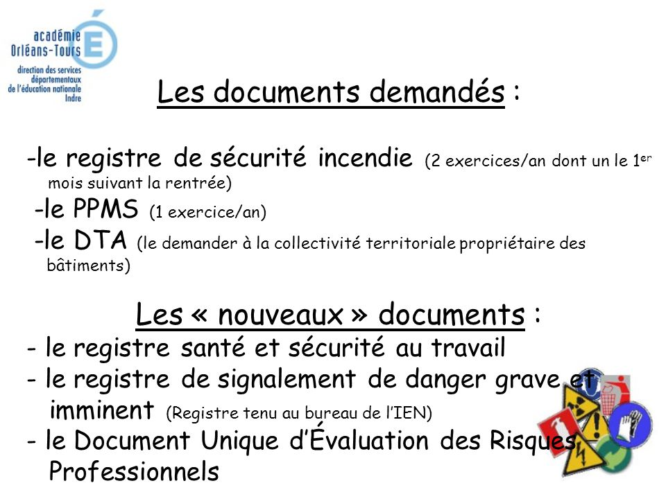 Les documents demandés :